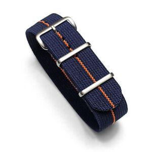 Comfortable Elastic Nylon Watch Strap 20mm/22mm Formula Driver Racing Stripe