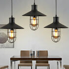 Vintage Industrial Retro Black Loft Cage Glass Ceiling Lamp Shade Pendant Light