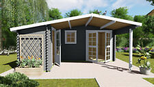 More details for log cabin l shape 28mm  5.1mx4.8m garden office, floor, shingle tiles
