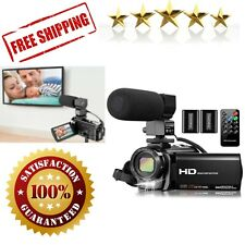 Video Camera Camcorder with Microphone Vlogging YouTube 16X Digital Zoom HD Cam