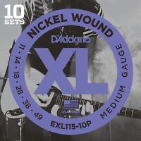 10 Sets D'Addario EXL115-10P Electric Guitar Strings 11-49 Medium Pack