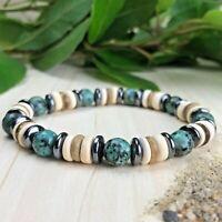 Bracelet Homme Femme Perles Naturelles Turquoise Hématite Coco Taille au choix