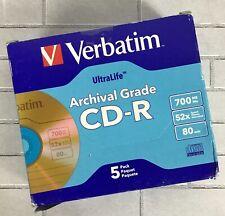 Verbatim CD-R Archival Grade Disc, 52x, w/ Jewel Case Gold 5 Pack 700MB 80 min