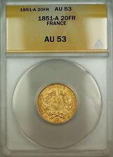 1851-A France 20 Fr Francs Gold Coin ANACS AU-53