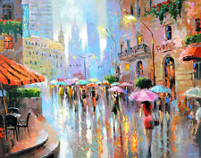 "Rain and city - modern oil painting on canvas by Dmitry Spiros. Size: 28""x36"""
