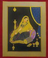 Hand Painted Gold Work Maharani Portrait Miniature Painting Fine Udaipur India