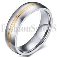 Men's Women's Comfort Gold Strap Silver Tone Stainless Steel Wedding Band Ring