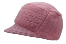 Winter Knitted Peaked Beanie Pink Curved Peak Urban Ski Hat One Size