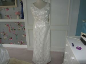 Corded lace and satin mermaid wedding dress size 10