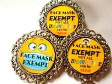 Spectacle Reading Glasses Badge Holder Brooch Pin Hidden Disabilities Smile Mask