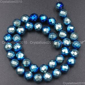 """Natural Hematite Gemstone Faceted Round Beads Metallic Colors 4mm 6mm 8mm 15.5"""""""