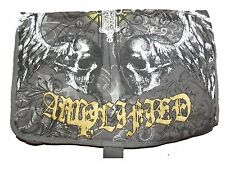 Amplified Unisex Charcoal / Gold Canvas OVERBODY Messenger Winged Skulls Bag