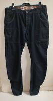 ETO 9901 dark navy washed cotton twisted legs men's jeans. Size 34 R