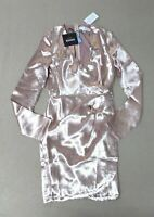 Missguided Women's Silky Long Sleeve Wrap Dress Pink DL7 US:2 UK:6 NWT