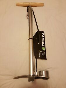Bike Floor Pump Birzman  Zacoo 5 degree Mtb Silver with wooden handle