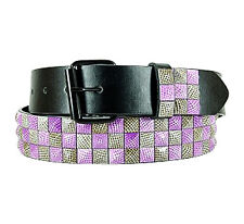 Men's Designer Studded Belt (New S) Pink And Brown Quality Genuine Leather Belt