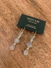 Shivam Silver Earrings With Rainbow Moon Stone Blue Topaz Retail $68 India