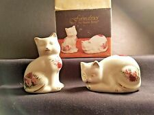 Formalities by Baum Bros Cat Salt & Pepper Shakers, Victorian Rose Gold Accents