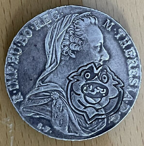 Genuine Maria Theresa Thaler Austrian 1780 Trade Coin, Counterstamped Bahrain