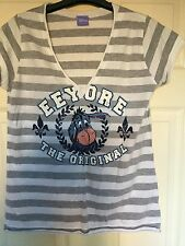 Ladies Light Grey & White Striped 'Eeyore' Graphic T-shirt Size 14 New Look New