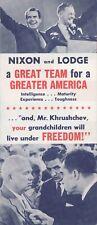 1960 Nixon & Lodge brochure Wisconsin WI also Kuehn governor