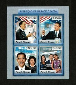 Guinea-Bissau 2012 Reelection of President Barack Obama - Sheet of 4 Stamps MNH