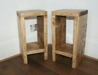 Rustic Farmhouse Solid Wood Pair of Bedside Side Tables Medium Oak Lamp Table