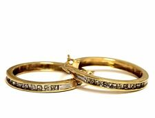 10k yellow gold .27ct SI1 H diamond hoop earrings 3.7g estate vintage antique