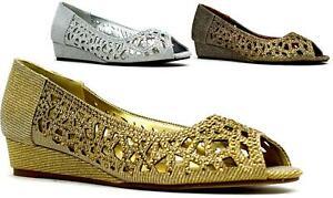 Brand New Caged Stone Slip On Sparkly Wedge Heel Peep Toe Ladies Formal Shoe UK