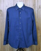 VINTAGE MENS APT9 SHIRT SIZE M BLUE GREY CHECK COTTON BUTTON WORK LONG SLEEVE