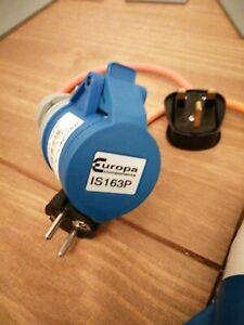 13amp 240v plug to 16amp socket.Caravan Hook Up Adaptor Mains Cable. X 2