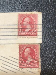 Original George Washington Two Cent Stamp Used Rare Red 2 Cents Set / Two!