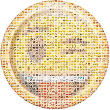 EMOJI LARGE PAPER PLATES (8) ~ Birthday Party Supplies iPhone Android Message