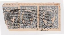 (POE-74) 1905 QLD 2d pair on piece PO no.315 channing 4R