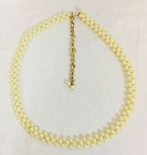 "Vintage 1980's Triple Pearl Strand Bridal Belt Gold Tone Hardware 39"" Total"