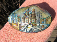 """Russian Lacquer Hand Painted trinket boxTemple """" Church of the Savior on Blood """""""