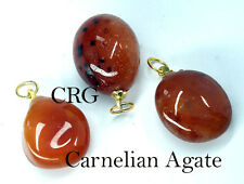 Tumbled CARNELIAN AGATE Pendant with Gold Bail (TU18DG)