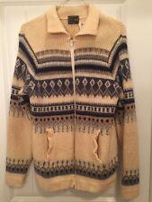 Men's Vintage Norvyk Wool Sweater Sz L Winter Cardigan Zipper Ski Norway Xmas