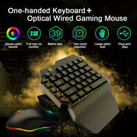 One-Handed Keyboard RGB Backlit + Ergonomic Wired Gaming Mouse Suit For PUBG LOL