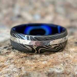 Damascus Steel Ring 14k White Gold Wedding Band With Inside Sapphire Blue Ocean