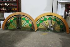 Pair Vintage Lead Light Half Round Panels Window Door Brass Glass