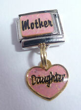 MOTHER DAUGHTER Italian Charm - I Love My Mum Pink Heart - 9mm Classic size E341