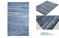 Blue Small X Large Handmade Denim Chindi Area Rug Rag Floor Rugs Mat Recycled