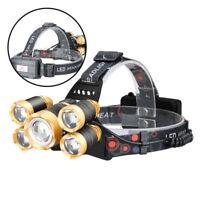 T6 Lampada Frontale ricaricabile Torcia a Led Luce da Testa 5 LED Professionale