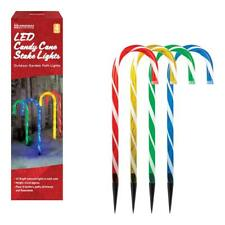 Set Of 4 LED Candy Cane Garden Pathway Lights Christmas Decorations OUTDOOR USE