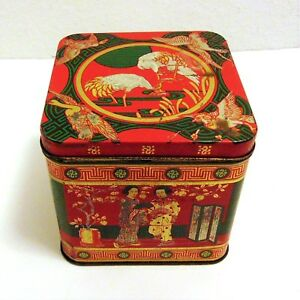 Vintage Tin Canister Chinese Traditional Scenes Cranes People Red Gold Green