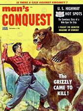 COMICS MANS CONQUEST GRIZZLY BEAR FIGHT KNIFE FINE ART PRINT POSTER ABB6432B