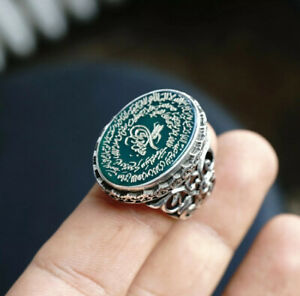 Handmade Islamic Mens Ring Green Agate Aqeeq engraved with Ayatul Kursi
