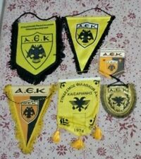 AEK ATHENS LOT OF 6 RARE FOOTBALL PENNANT FLAGS GREECE GREEK