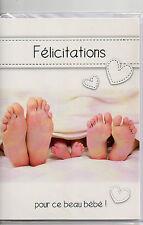 Carte Félicitations.Pour ce beau bébé.Trois paire de pieds.Coeurs.12x17 cm.